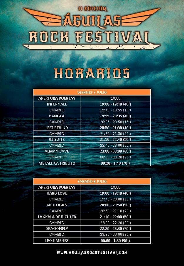 aguilas rock 2017 horarios